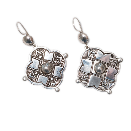 Tuareg rounded cross earrings