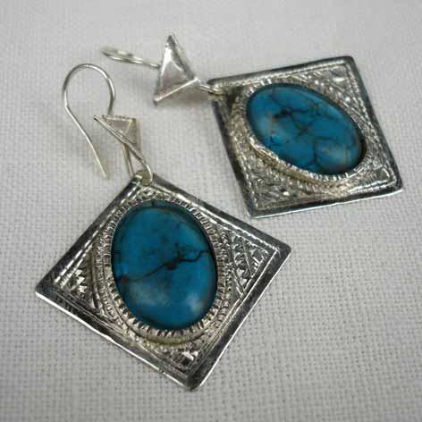 Tuareg square turquoise earrings