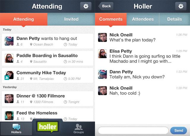 Holler App Screen-shots