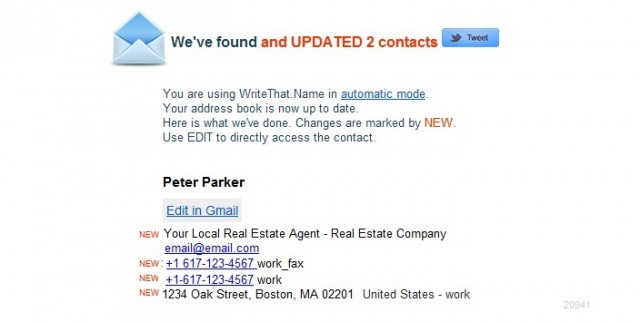 WriteThatName updated contact