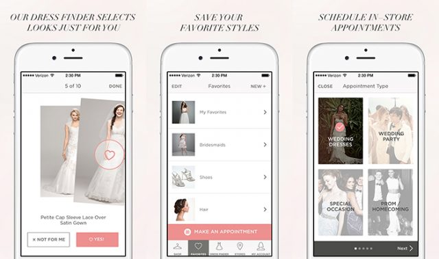 David's Bridal wedding dress app preview
