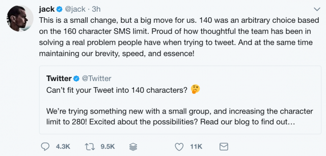 Twitter will truncate longer tweets