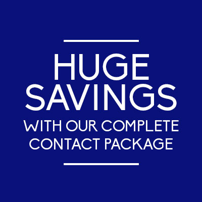 50% of all frames and all lenses with our contact lens complete package