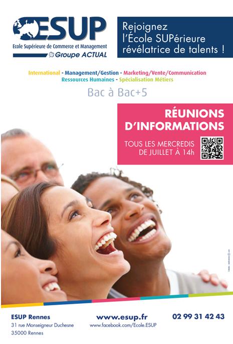 ESUP Rennes, l???Ecole Supérieure Révélatrice de Talents, et son partenaire Alterna, organisent des réunions d???informations tous les mercredis de juillet à 14h00.