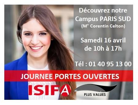 Journée Portes Ouvertes ISIFA Paris Sud - Samedi 16 Avril 2016 de 10h à 17h