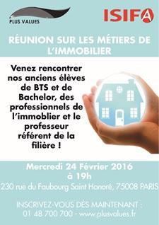 ISIFA –PLUS VALUES vous invitent à sa Conférence sur les métiers de L'IMMOBILIER Mercredi 24 février 2016 à 19h