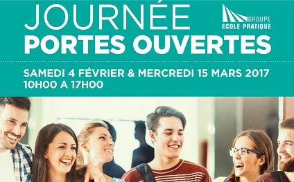 Le Groupe Ecole Pratique vous ouvre ses portes samedi 4 février et le mercredi 15 mars 2017, de 10h à 17h