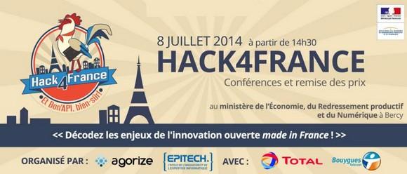Hack4France ; remise des prix et conférences le 8 juillet à Bercy