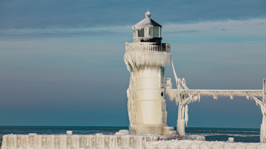 Cold As Ice: Lighthouse Frozen in -5 degree chill