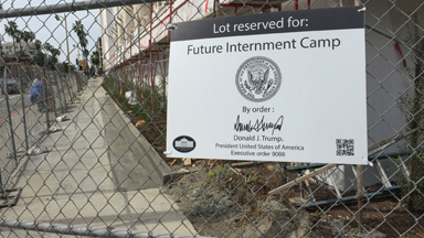 Street Artist Marks 'Future Internment Camps' Around USA 'Signed' By Donald Trump