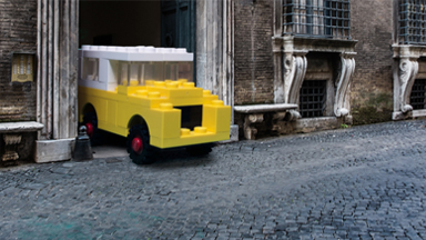 Life-size LEGO vehicles take to the ancient streets of rome