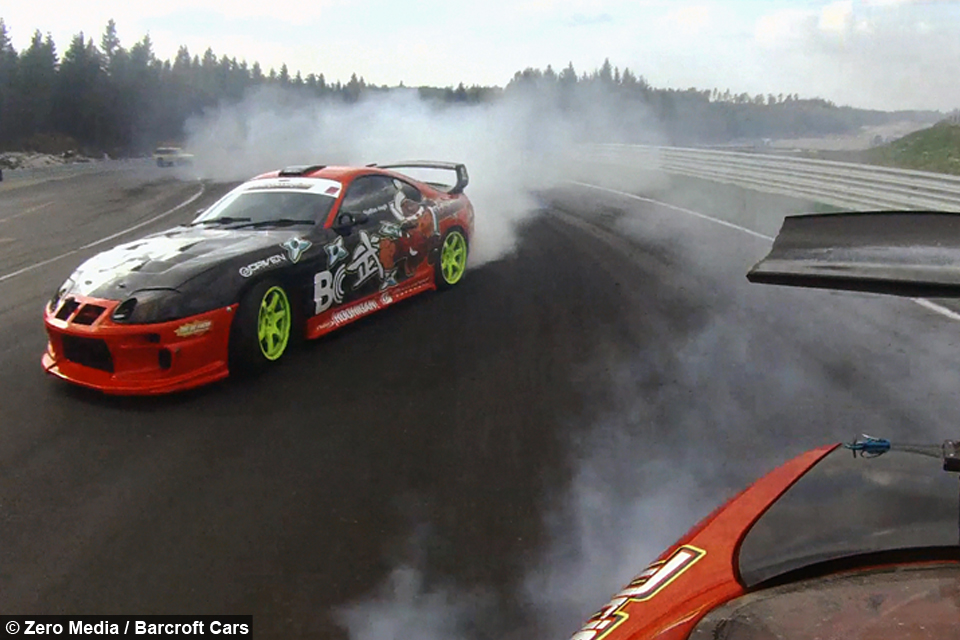Modified Sports Cars Drift Around Corners At Up To