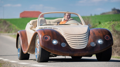 Car fanatic combines carpentry with modern technology to create one-off wooden car