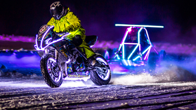 Light show: Finnish stunt racers go head-to-head in the dark