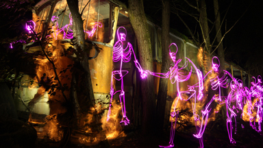 Fright Club: Spooky Light Paintings Of Skeletons In The Night