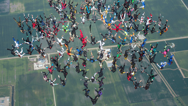 Head-Over-Heels: Upside Down Skydivers Set New World Record