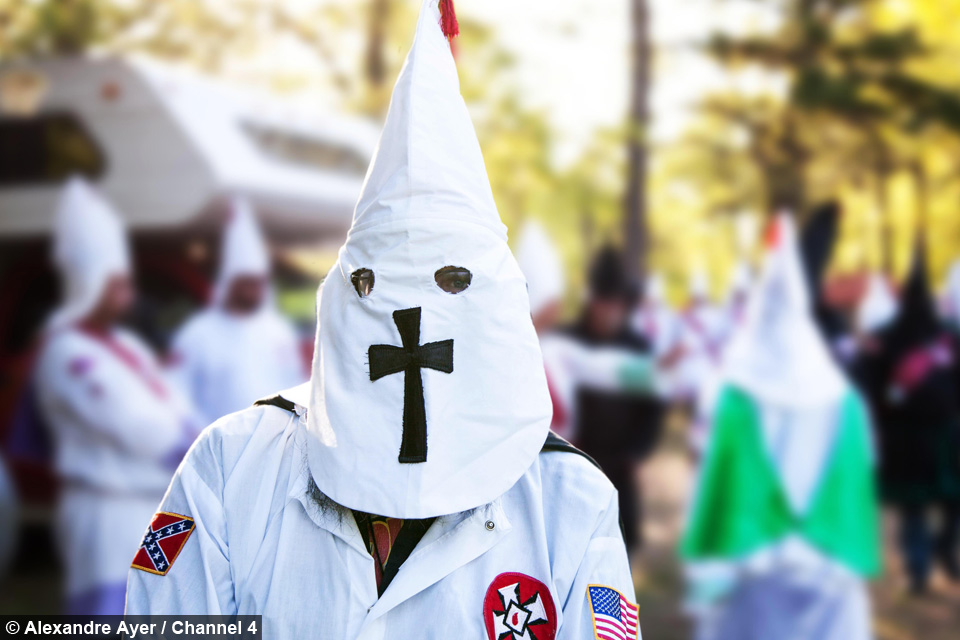 Missouri Two Klansmen in traditional Klan robes. Members in black are known as Knighthawks and are responsible for security and non-members at KKK ... & Inside The Ku Klux Klan
