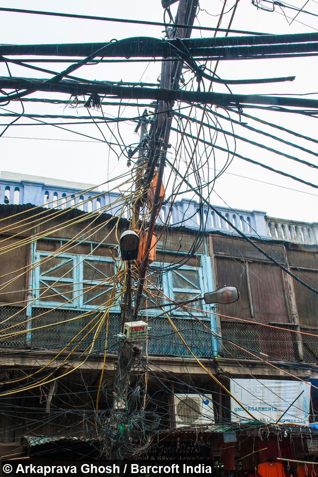 wired  chaotic electricity cables  indias  delhi