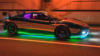 Custom LED Ferrari Speeds Through The Streets Of Tokyo