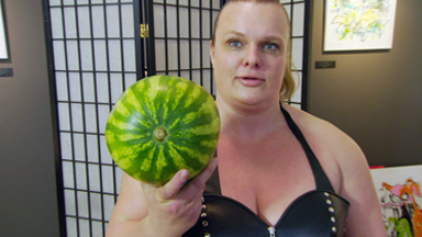 Dominatrix Wrestler Crushes Watermelons With Her Thighs