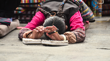 The ancient Buddhist gesture of prostration