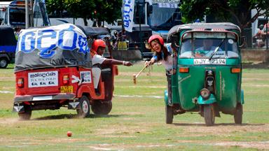 Tuk-tuk taxis take over elephants at Sri Lanka polo match