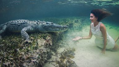 SNAP SHOT: Model Swims inches from American Crocodiles in daring photoshoot