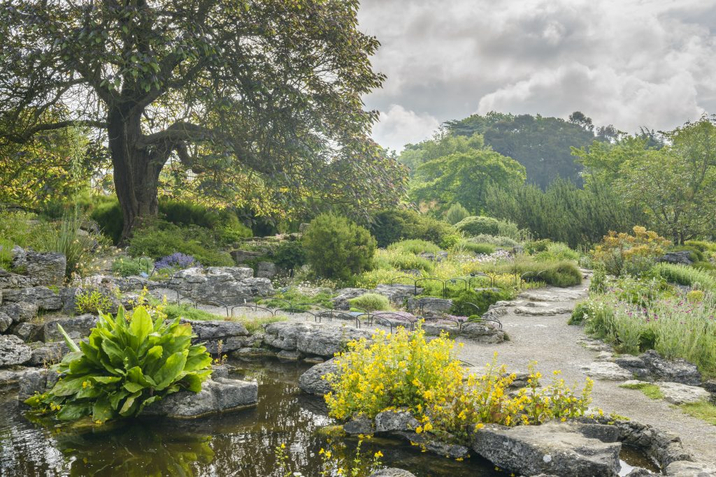 The Limestone Rock Garden. Large grey stones at the edge of the Lake. Green and yellow foliage with trees in the distance.
