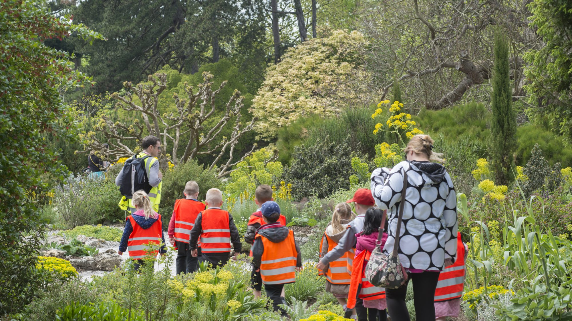 School children enjoying a tour of the garden.
