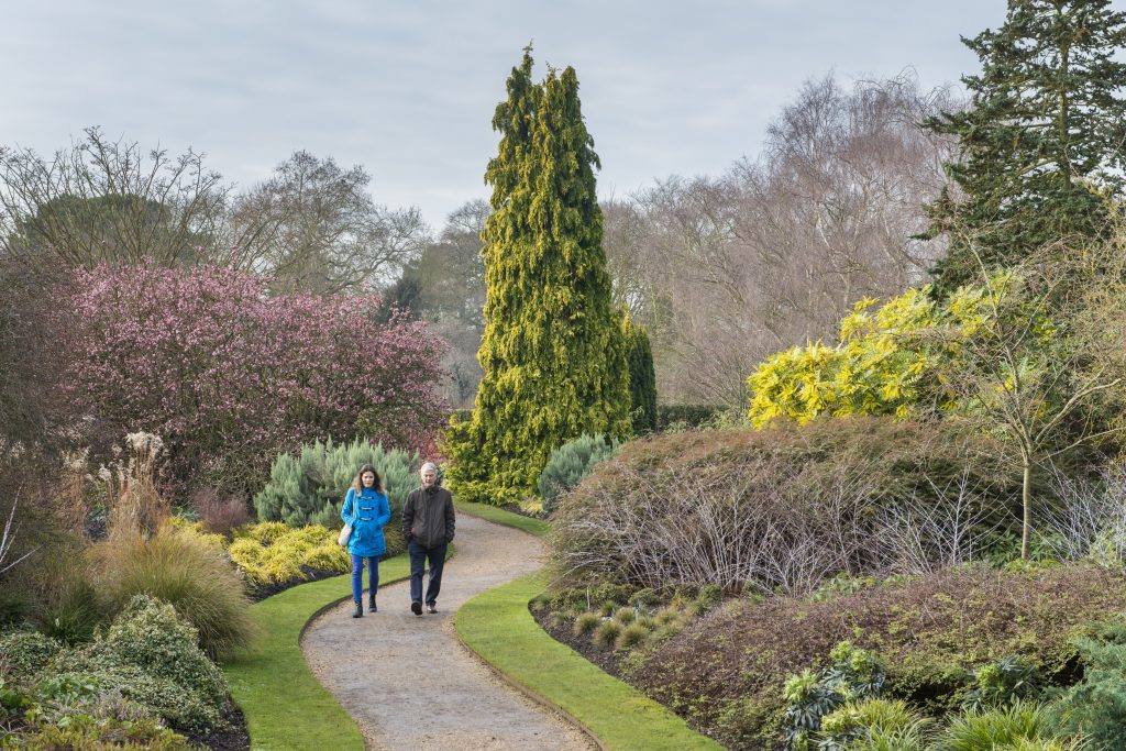 Two visitors walking through the Winter Garden.