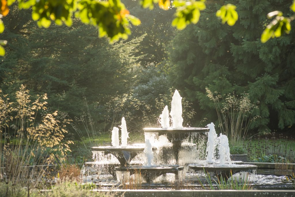 The iconic fountain in Autumn, designed by David Mellor (1930-2009), completed in 1970.