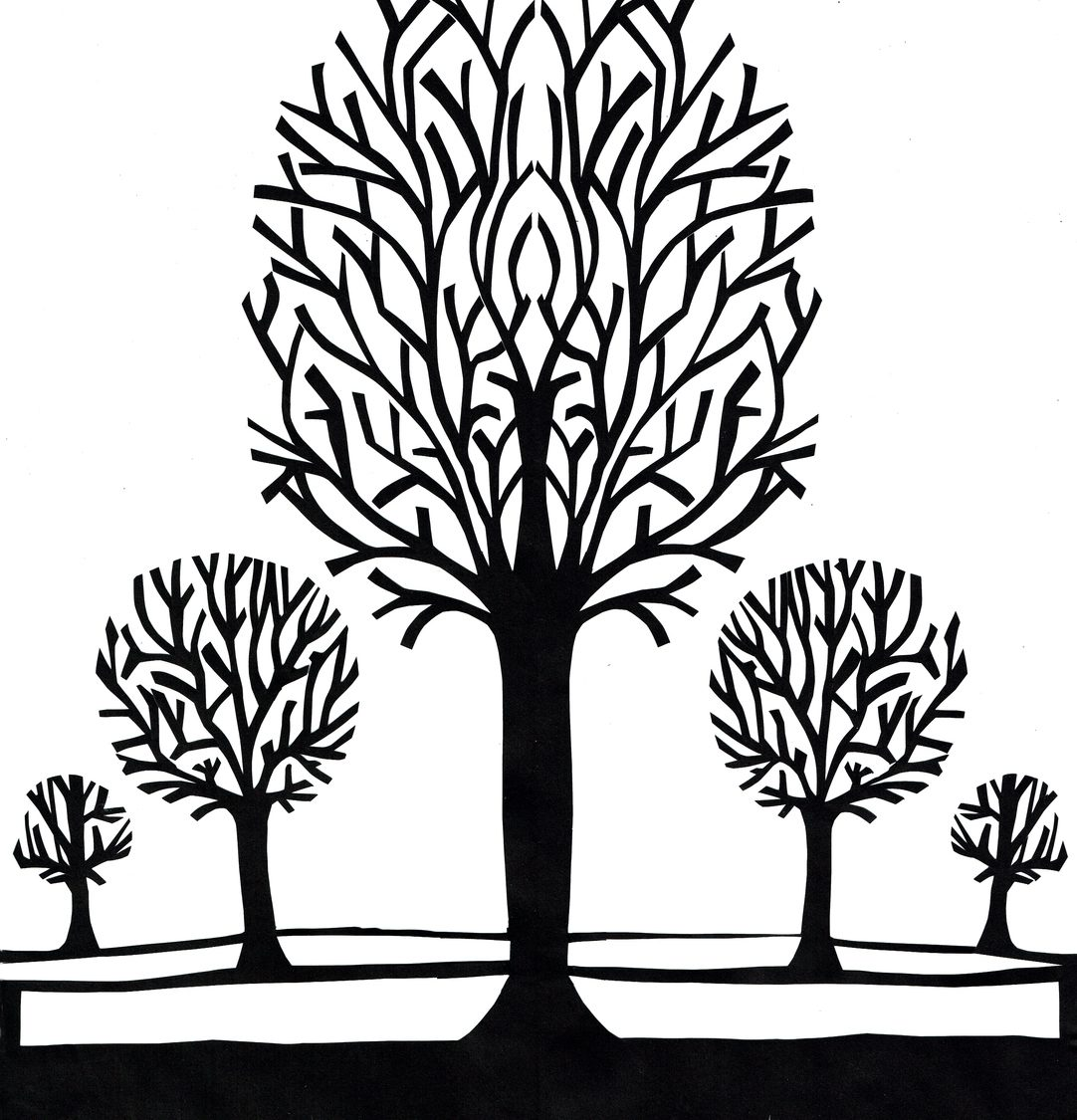 Black and white papercut winter trees