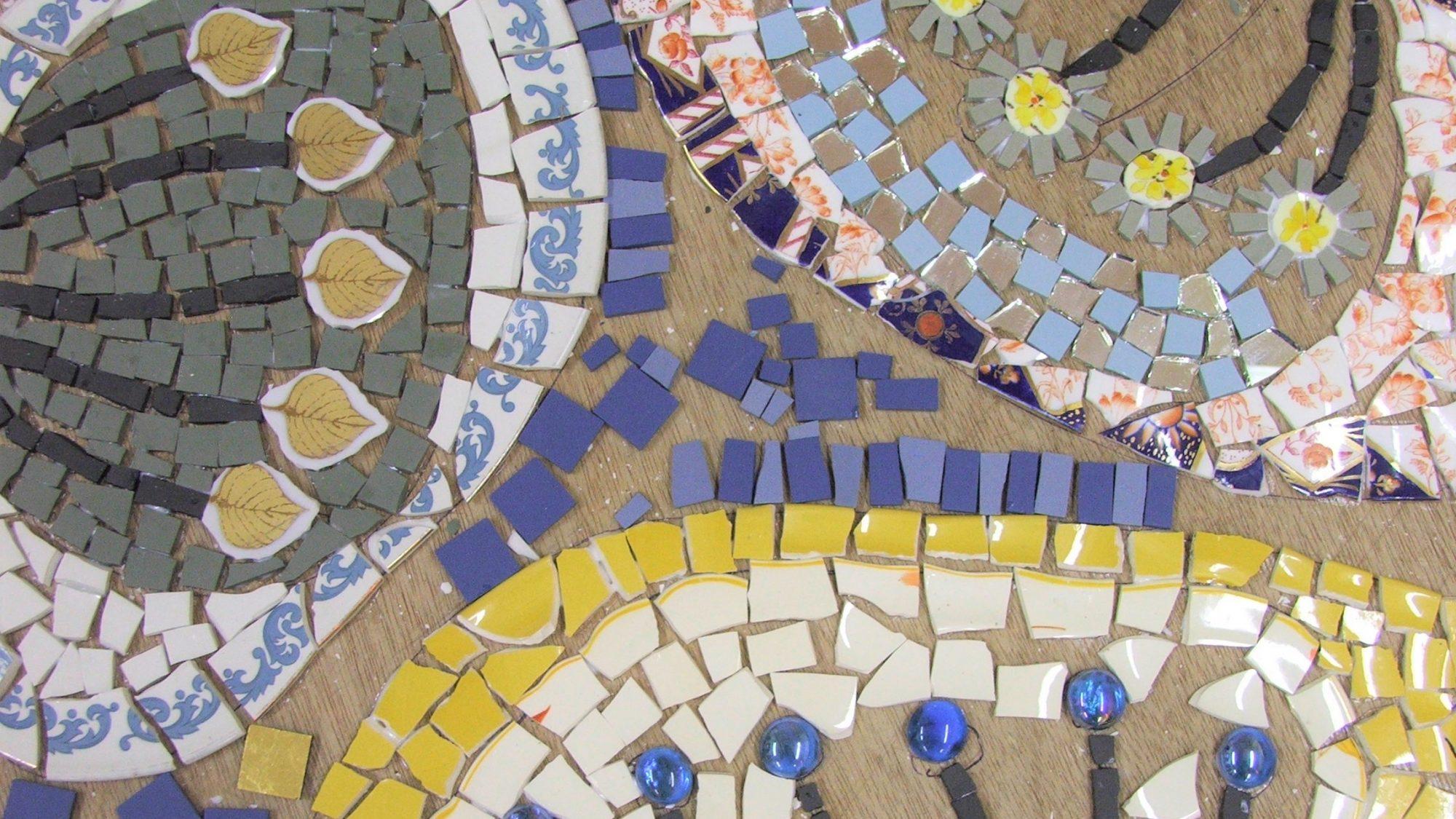 Mosaic flowers art work in progress