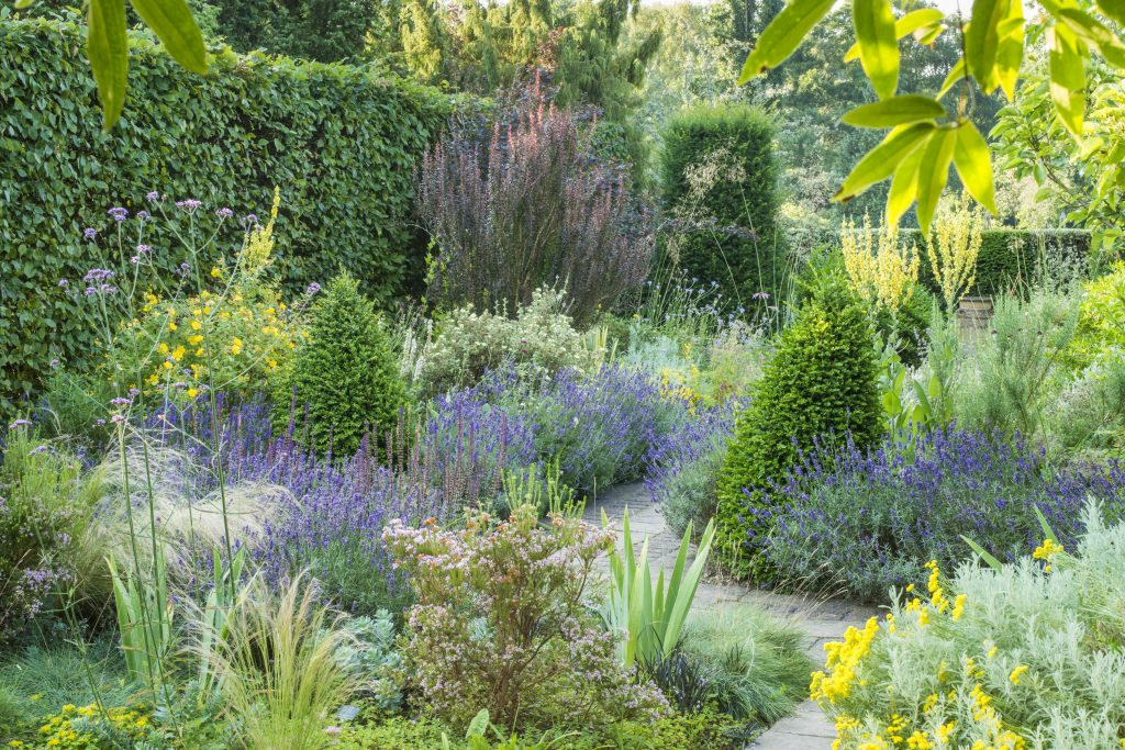 Dry Garden, a small, neat garden with pastel colours.