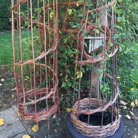 Two tall willow structures for growing plants up