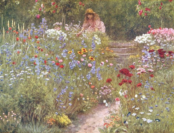 Painting of Victorian lady in wildflower meadow