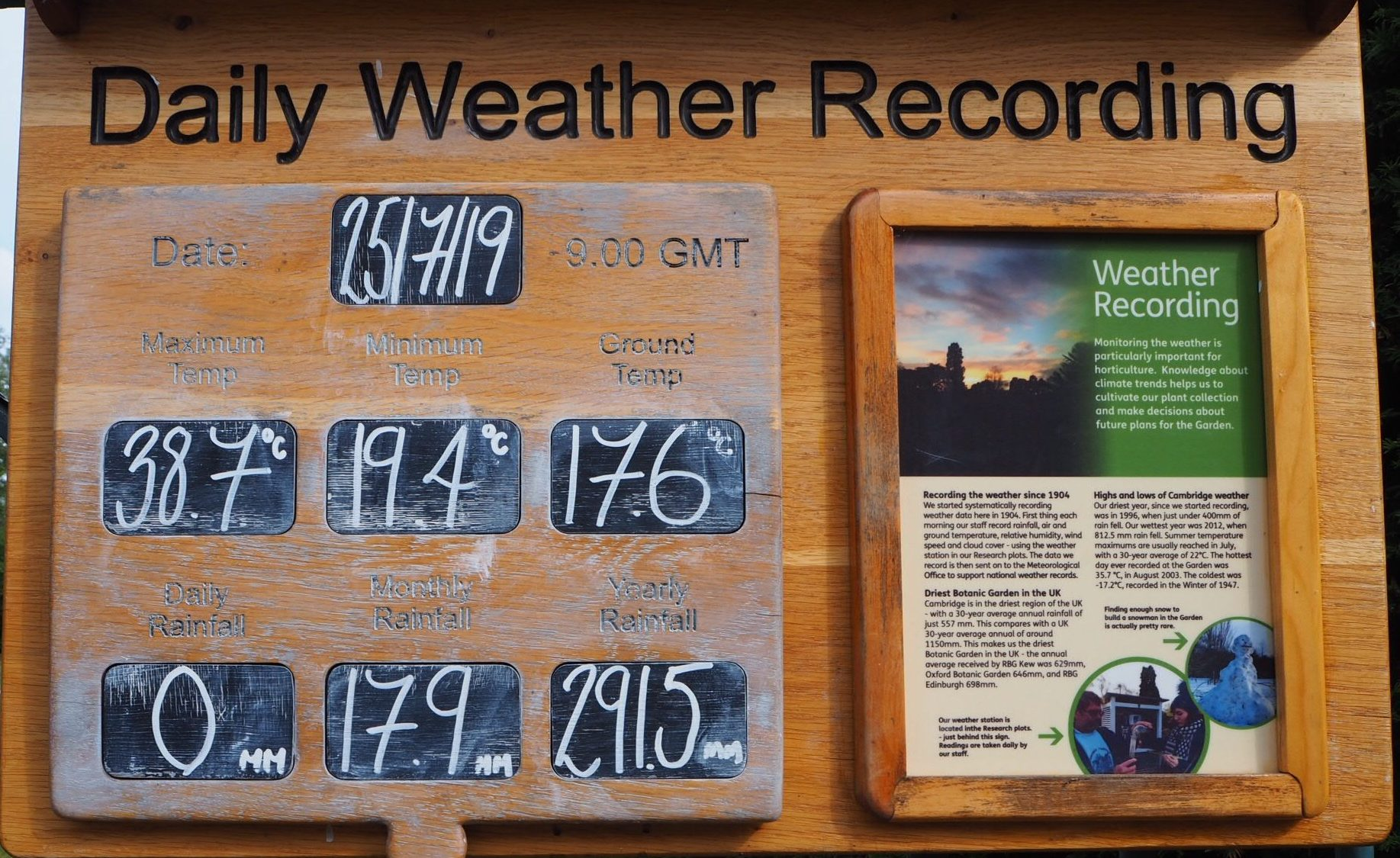 The Weather Board with the hottest day of the year reading (38.7)