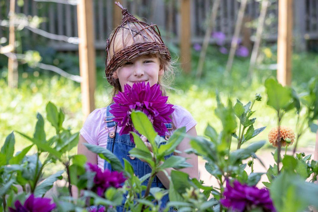 A girl with planted Dahlias in the schools garden.