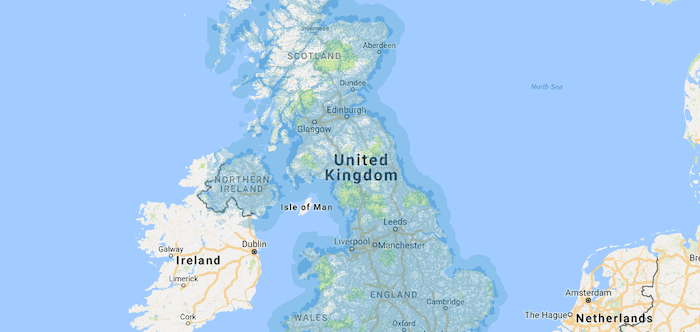 The EE network covers most of the country