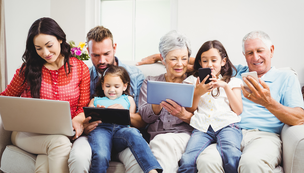 family with various mobile devices