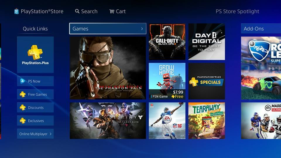 buying games online at the Playstation store