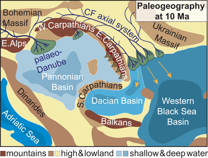 A sketch of how part of southeast Europe may have looked ten million years ago, during the Miocene