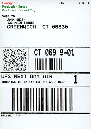 Example of a shipping label