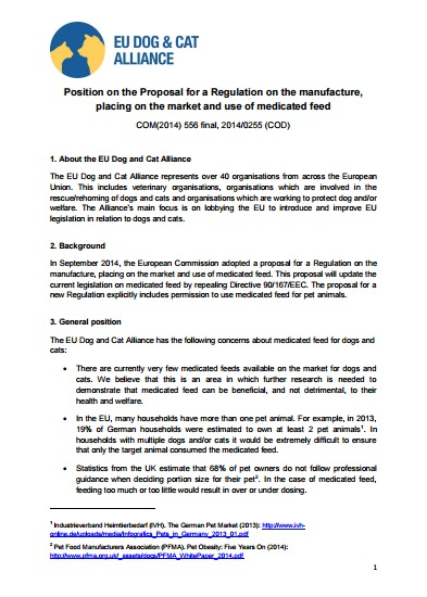 Position paper on the proposed Regulation on Medicated Feed