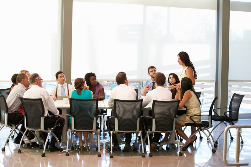 business meeting around a large table