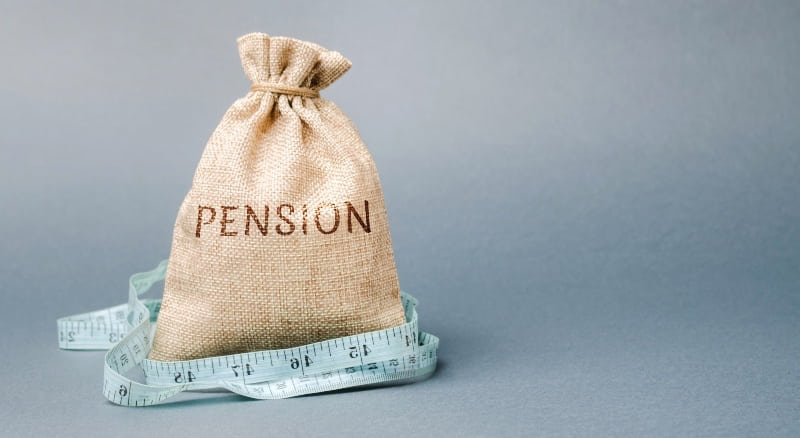 brown sack of coins with pension label