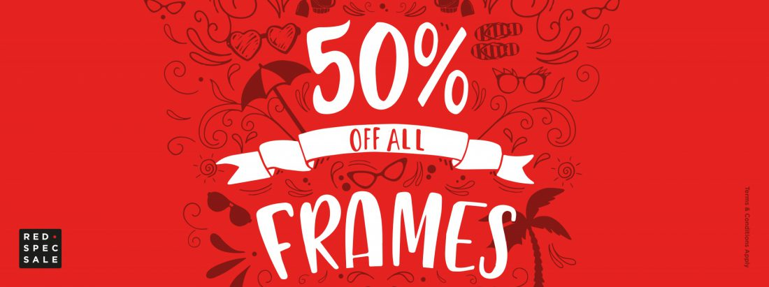 Red Spec Sale - 50% off frames