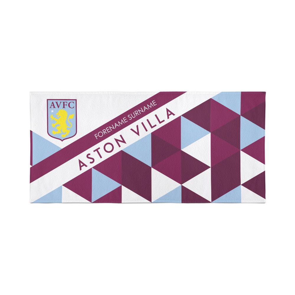 Aston Villa Personalised Towel - Geometric Design - 70 x 140