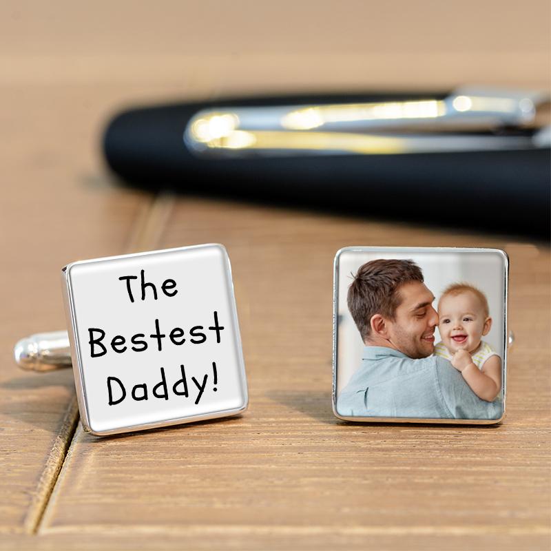 The Bestest Daddy Photo Cufflinks