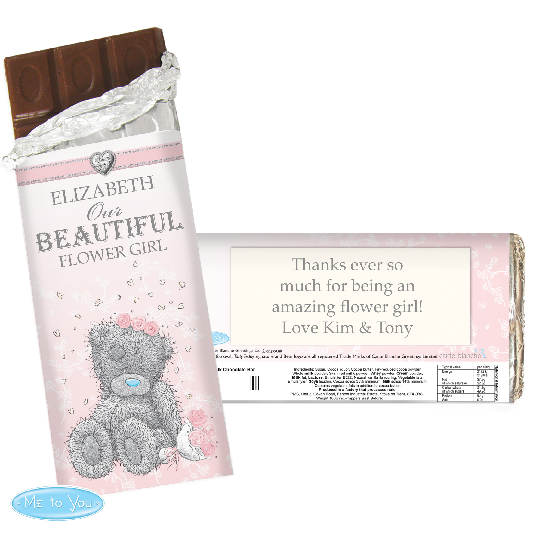 Personalised Me to You Wedding Milk Chocolate Bar - For Her
